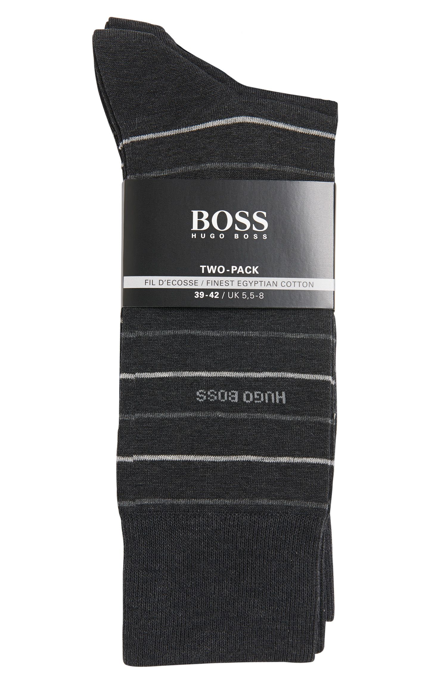 Cotton-blend socks in a double pack: 'Twopack Fine Stripe'