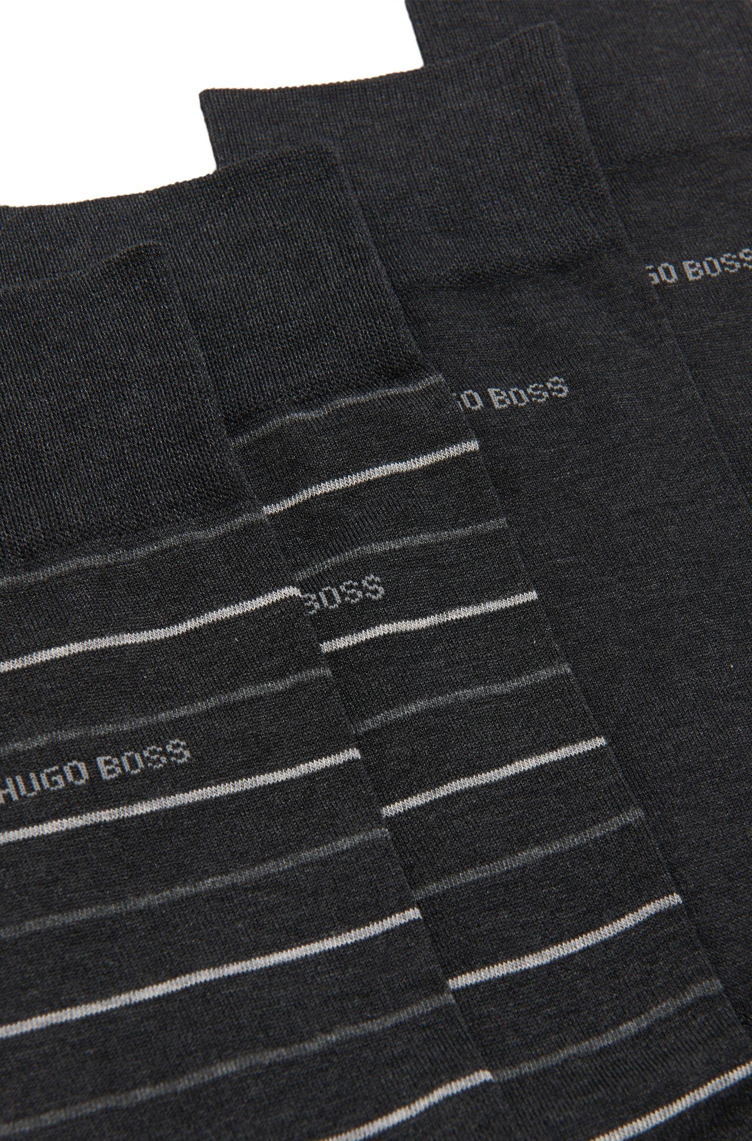 Set van 2 paar sokken van een katoenmix: 'Twopack Fine Stripe'