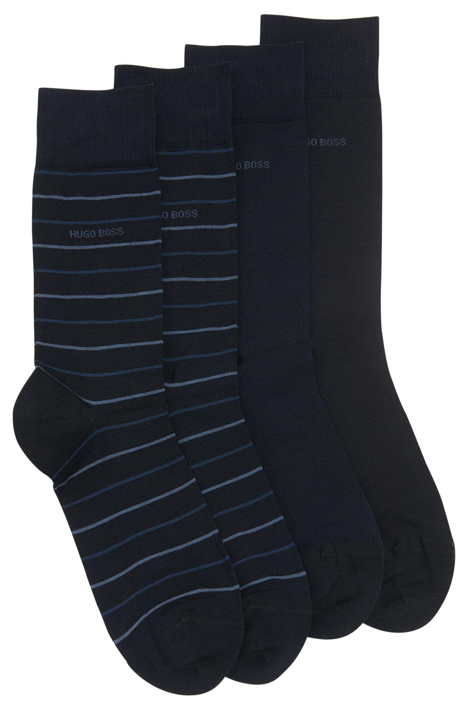 Confezione da 2 paia di calze in misto cotone: 'Twopack Fine Stripe'