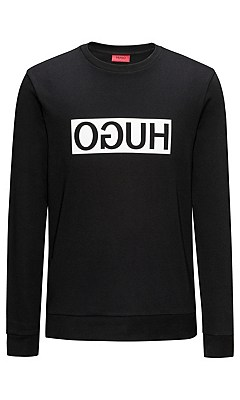 Loose-fit sweatshirt in cotton: 'Dicago', Black