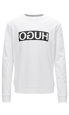 Loose-fit sweatshirt in cotton: 'Dicago', White