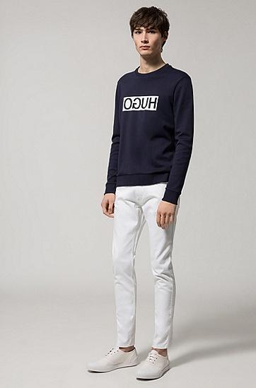 饰以反向logo的常规版双面棉卫衣,  410_海军蓝色