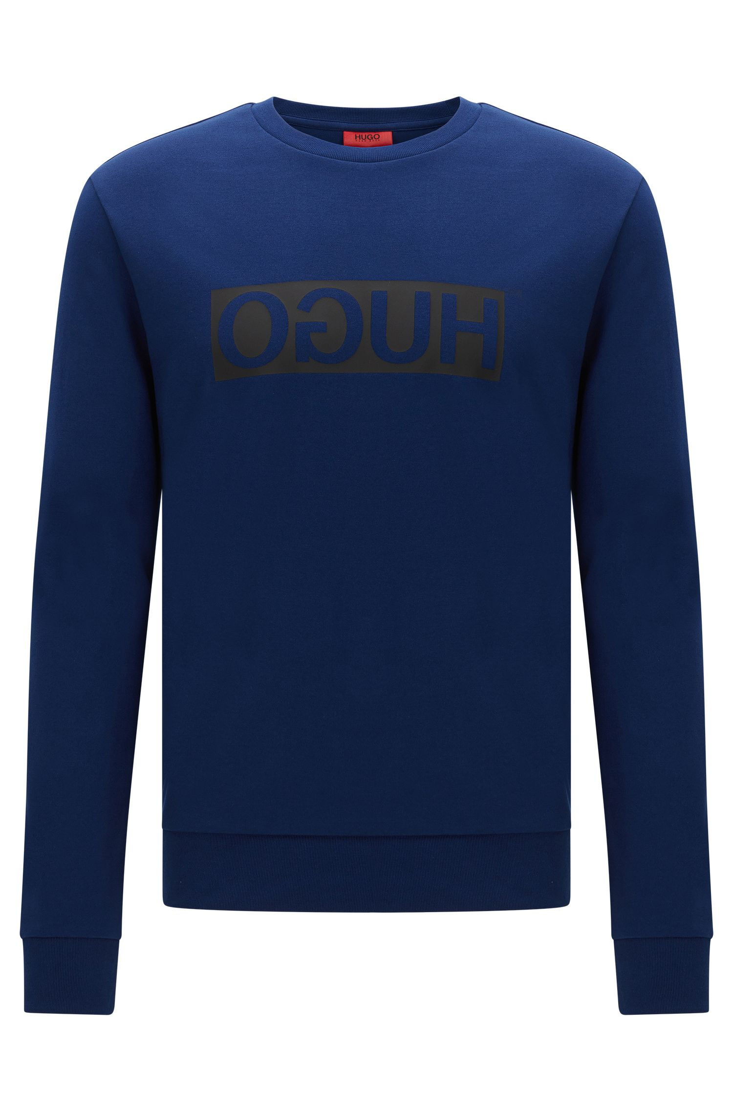 Relaxed-fit sweatshirt van katoen met HUGO Reversed-logo: 'Dicago'