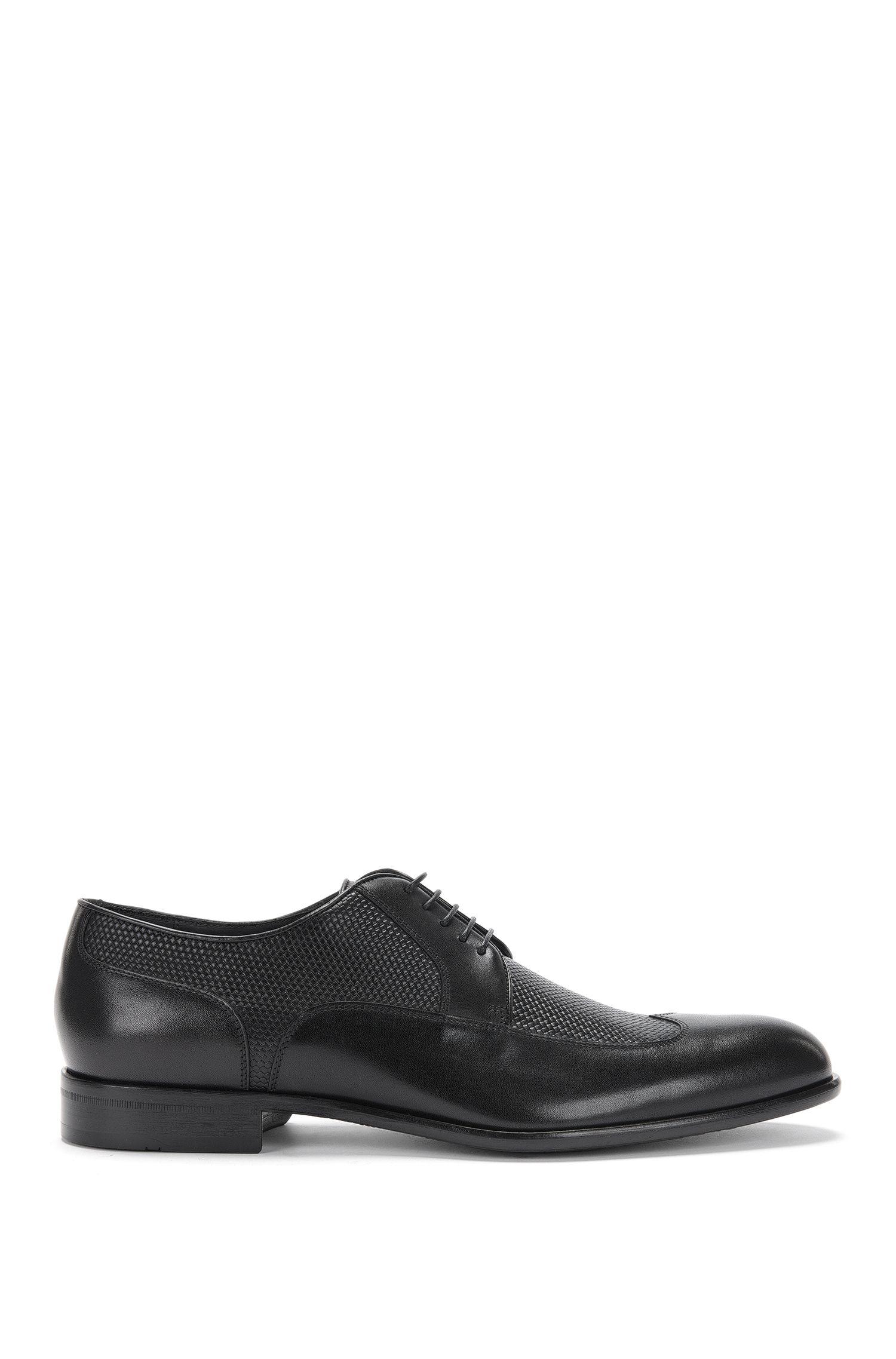 Chaussures à lacets en cuir présentant une texture tissée imprimée: «Maderb»