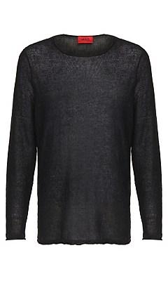 Slim fit sweater in linen: 'Slin', Black