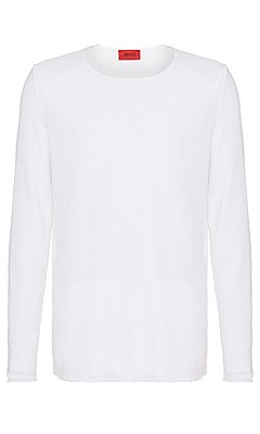 Slim fit sweater in linen: 'Slin', White
