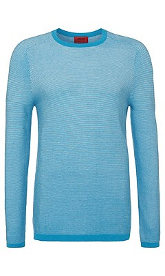 Slim fit sweater in cotton blend with silk: 'Sraglan', Turquoise