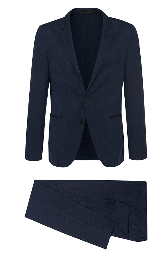 German-made extra-slim-fit suit in new wool: 'Novel/Barter-D', Dark Blue