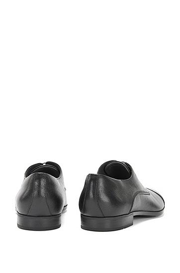 Geprägte Schnürschuhe aus Leder mit abgesetzter Front: 'Underb', Schwarz