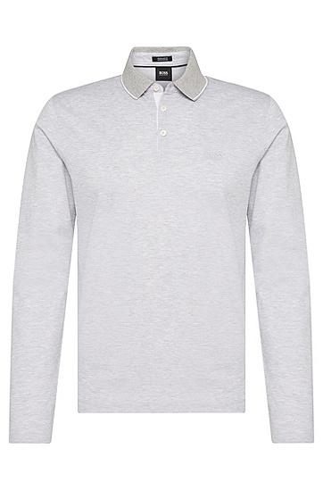 Regular-Fit Longsleeve-Poloshirt aus Baumwolle: 'Pearl 03', Hellgrau