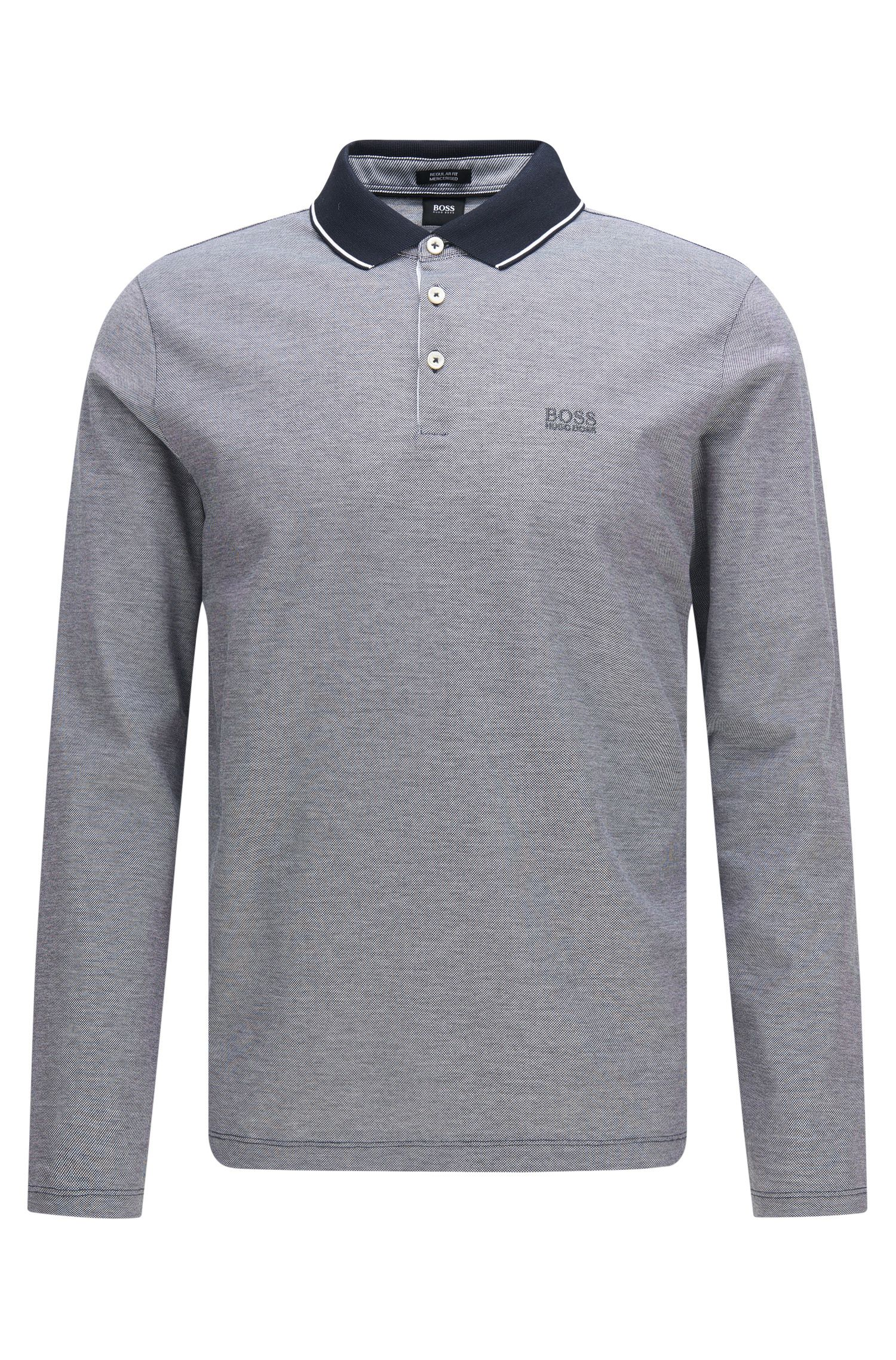 Regular-fit long-sleeved polo shirt in cotton: 'Pearl 03'
