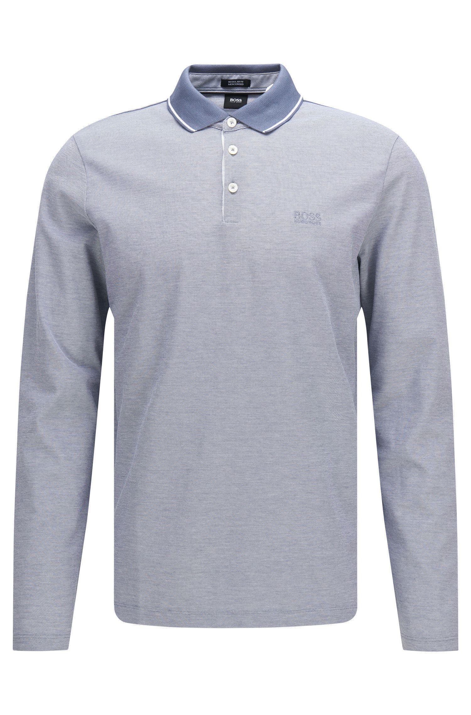 Polo à manches longues Regular Fit en coton: «Pearl03»