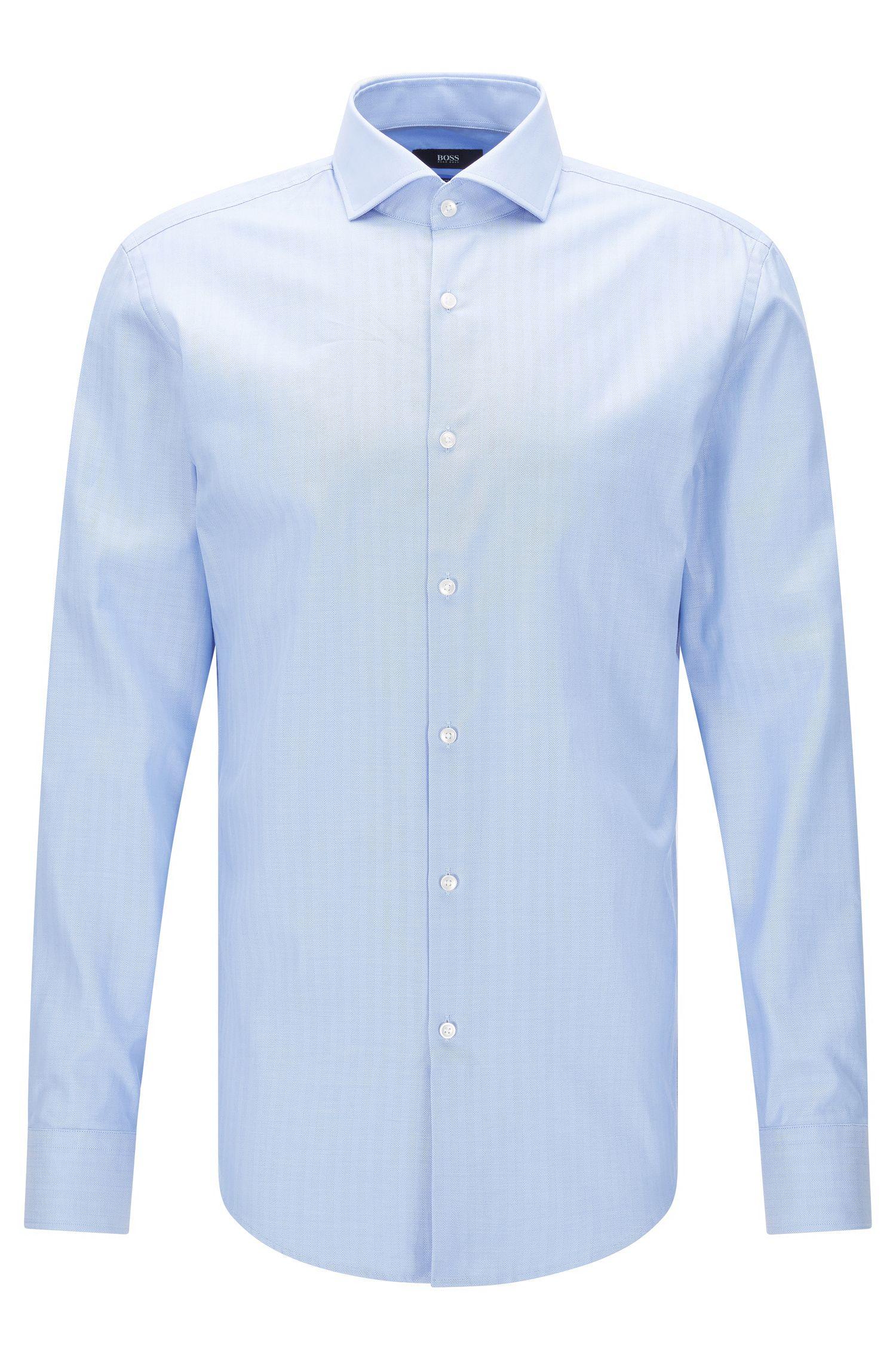 Chemise Slim Fit en coton, à motif à bâtons rompus: «Jason»