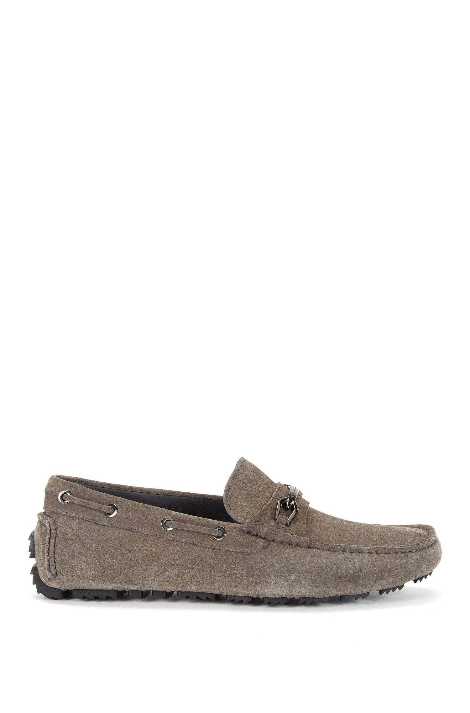 Leather moccasins with metal detailing: 'Driprin'