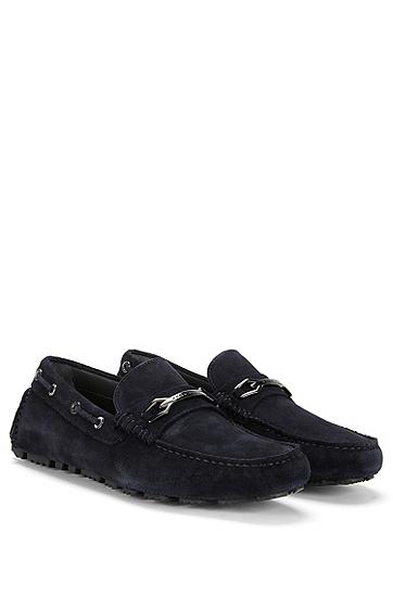 金属细节真皮莫卡辛鞋:'Driprin',  401_暗蓝色