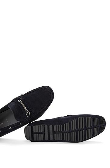 金属细节皮质莫卡辛鞋:'Driprin',  401_暗蓝色