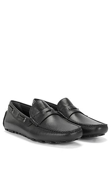 精美粒面革素色莫卡辛鞋:'Drilleo',  001_Black