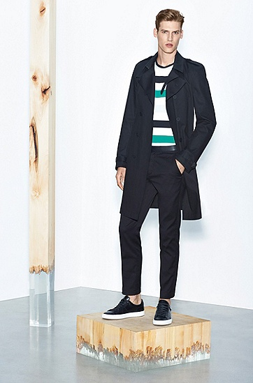 素色真皮运动鞋:'Timaker',  001_黑色