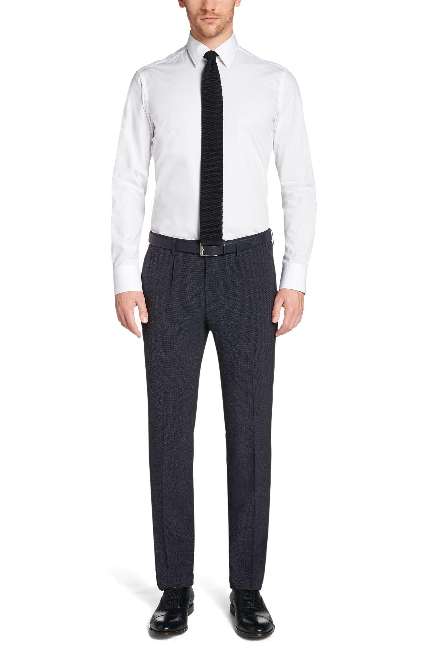 Pantalon Slim Fit en laine vierge mélangée extensible, avec de la soie: «T-Gilroy»