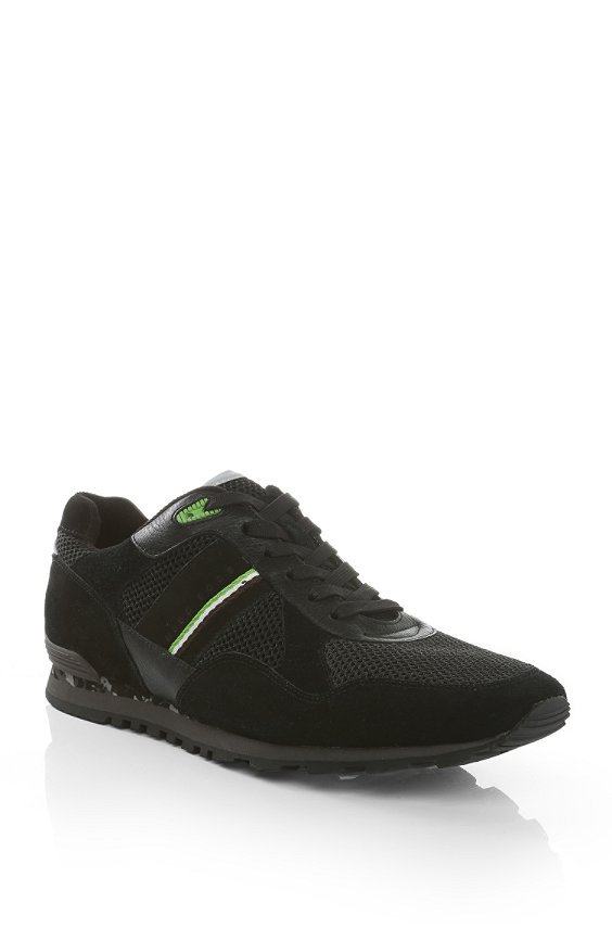 Trainers in fabric blend with leather: 'Runcool Camo', Black