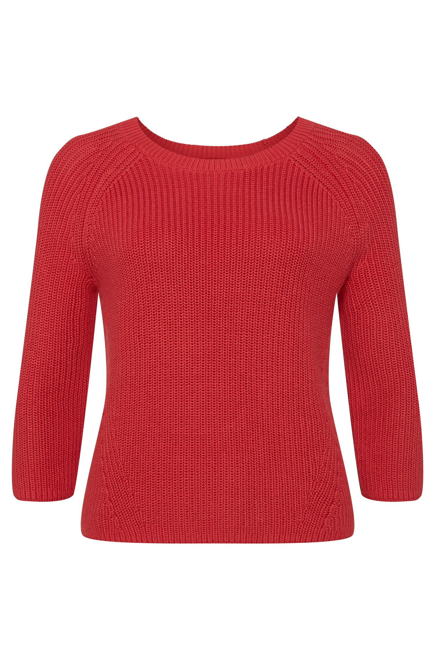 Unifarbener Pullover aus Baumwolle mit 3/4-Ärmeln: 'Seppia'