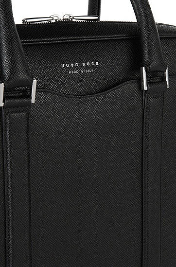 BOSS Signature系列Palmellato皮革手袋,  001_黑色