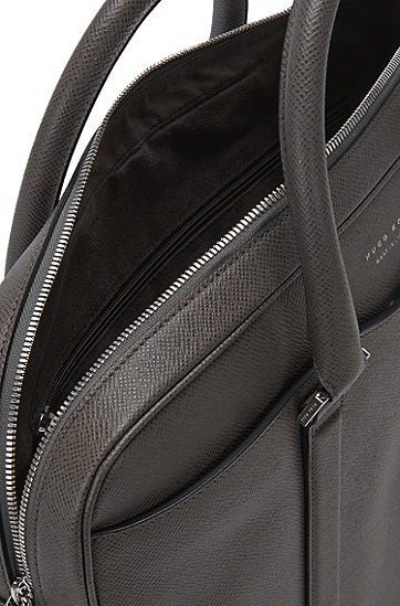 BOSS Signature系列Palmellato皮革手袋,  025_暗灰色