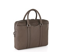 Laptop bag in finely-textured leather: 'Signature_S doc', Khaki