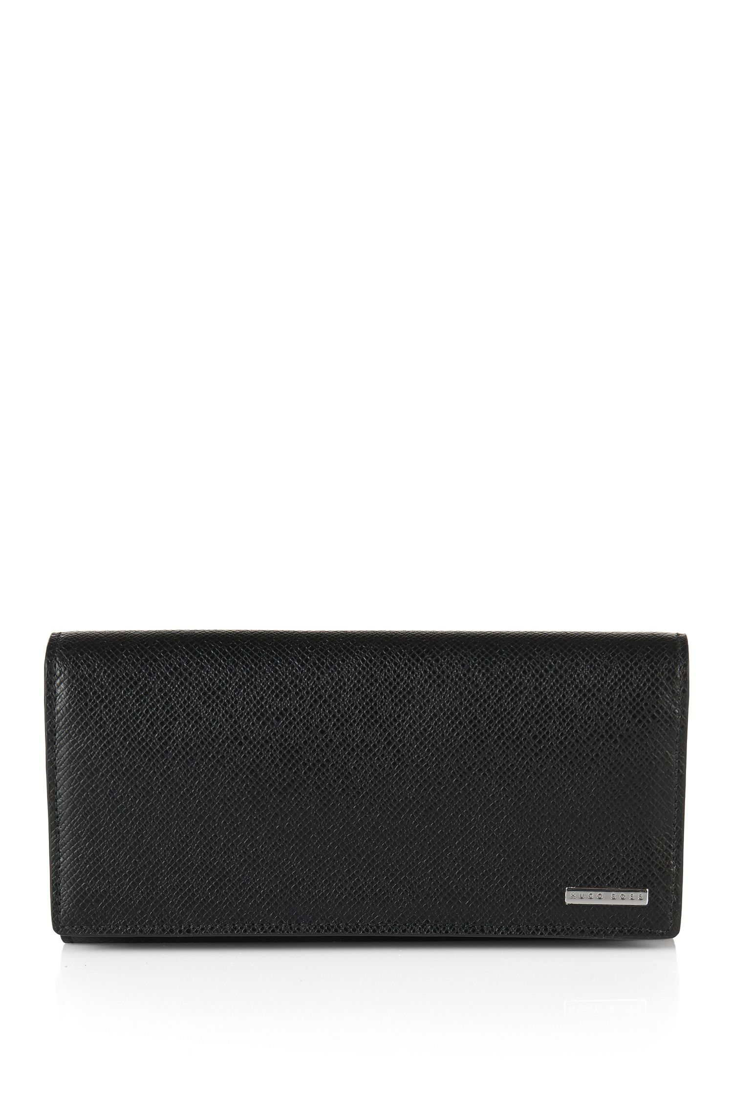 Plain wallet in embossed leather: 'Signature_Currency'