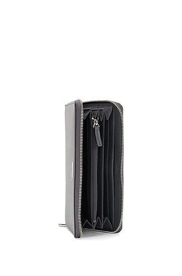Geldbörse aus strukturiertem Leder: 'Signature_S zip trav', Grau