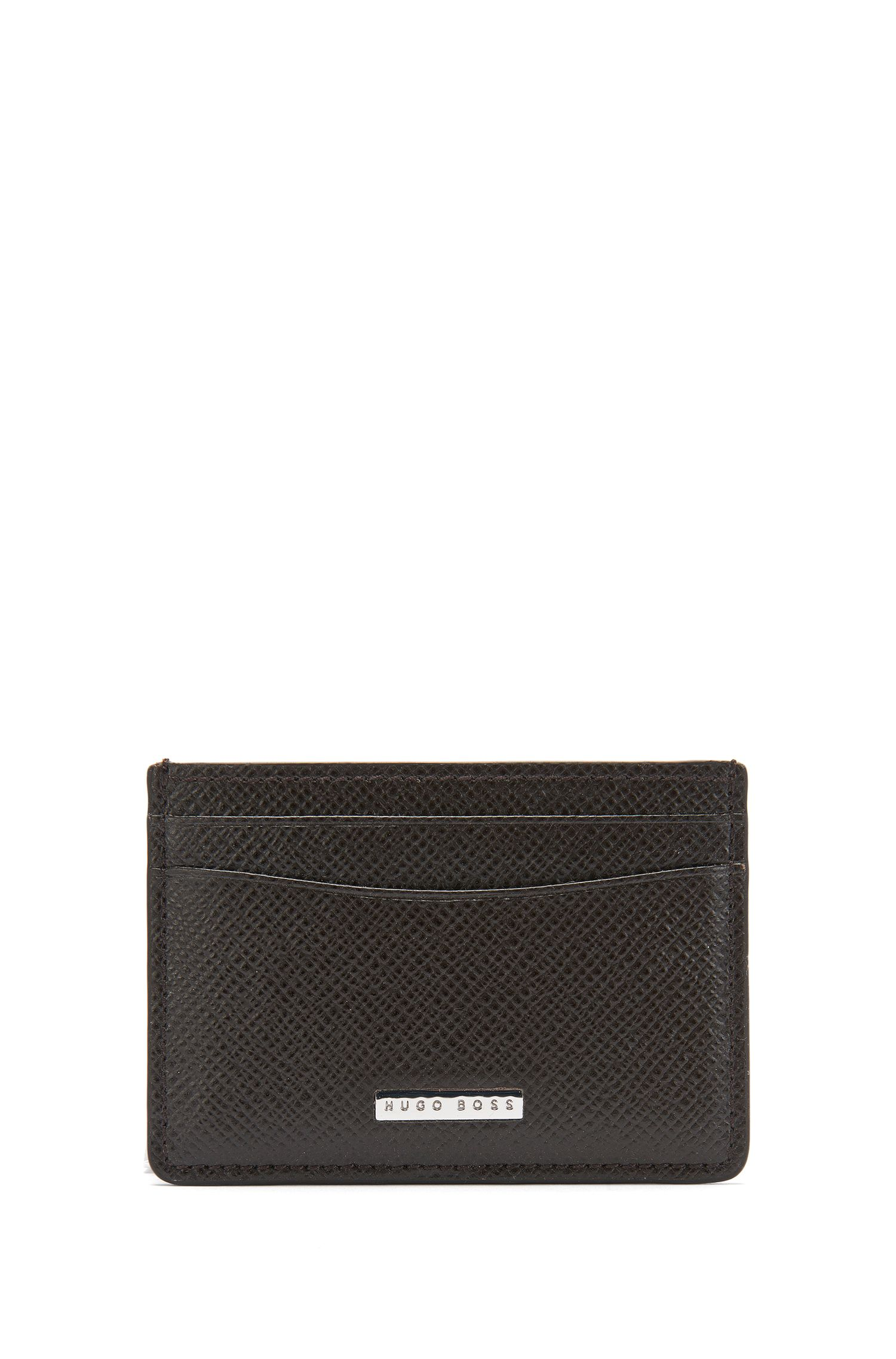 Signature Collection card holder in grained palmellato leather by BOSS