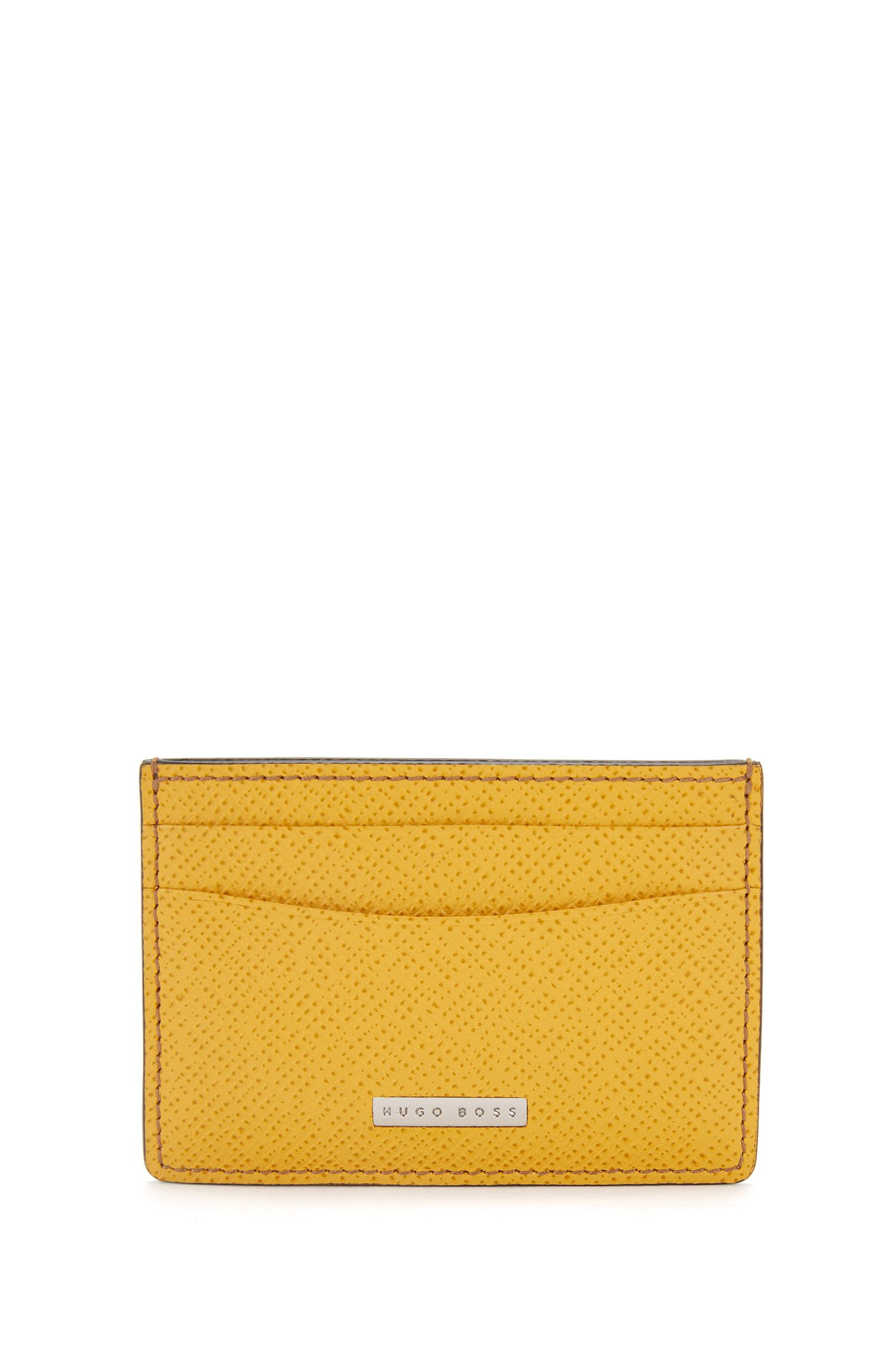 Textured leather card case: 'Signature_S card'