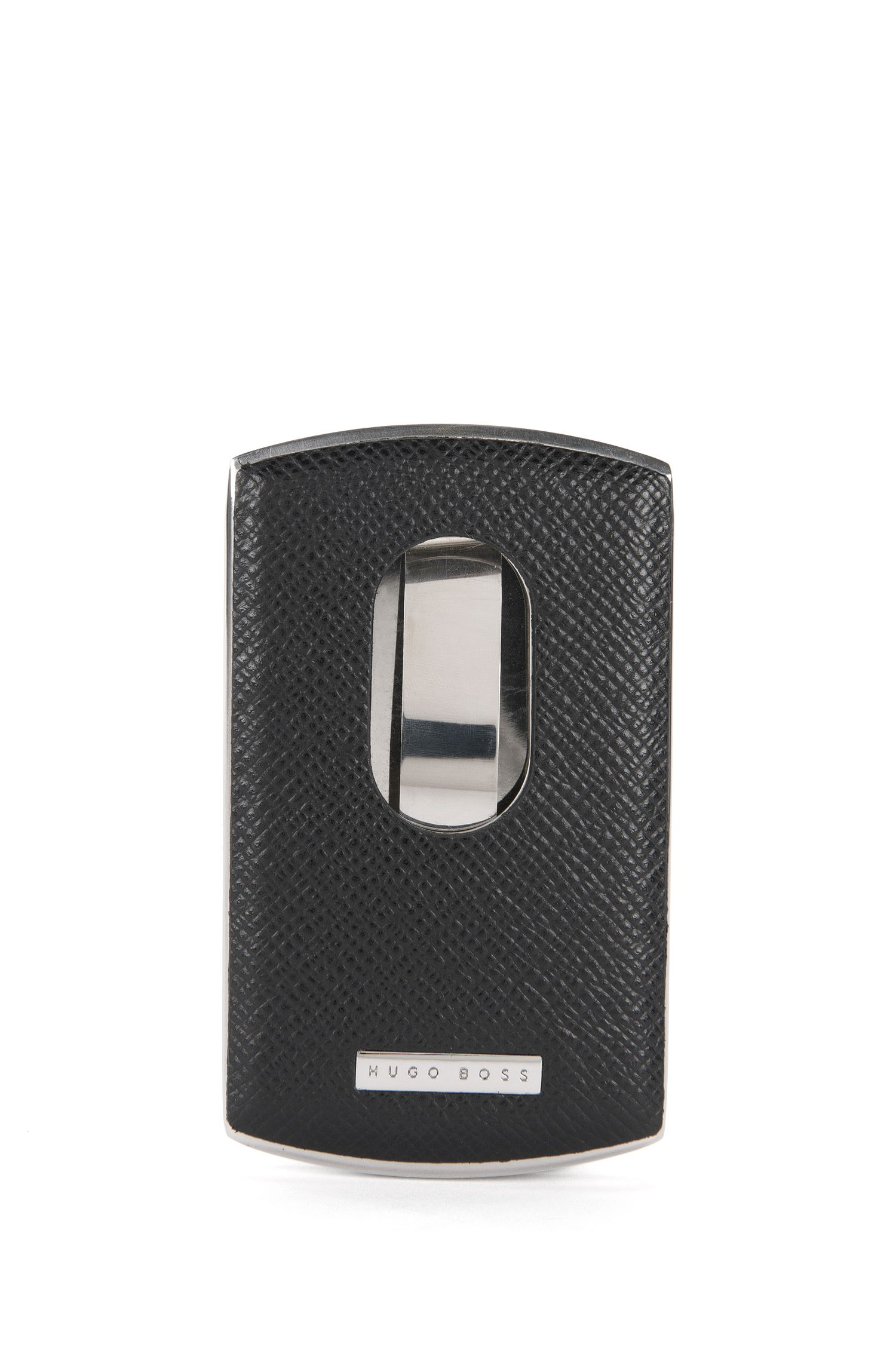 Signature Collection business card case in metal and leather by BOSS