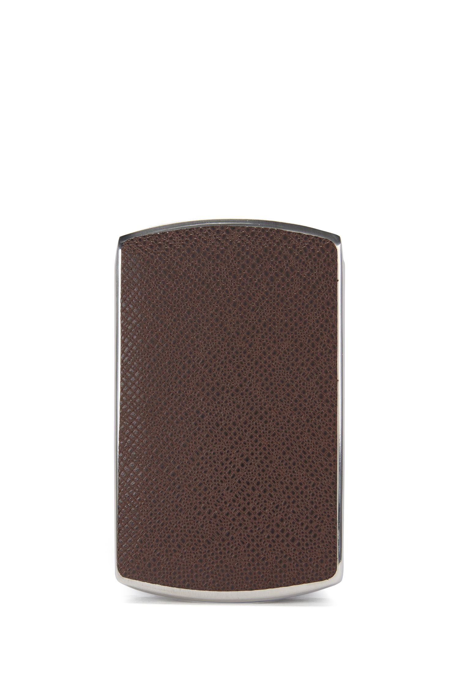Kartenetui aus Metall mit Lederbesatz: 'Signature Metal_card'