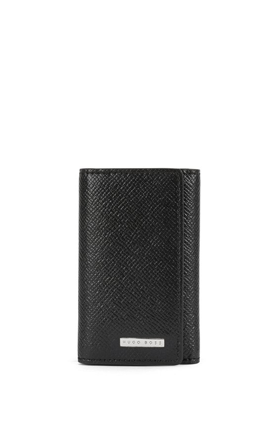 Key case in finely embossed leather: 'Signature_7 keys', 001_Black