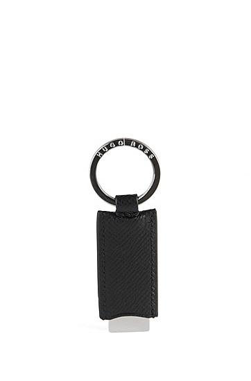 Schlüsselanhänger mit Lederbesatz: 'Siganture_Key fob', Schwarz