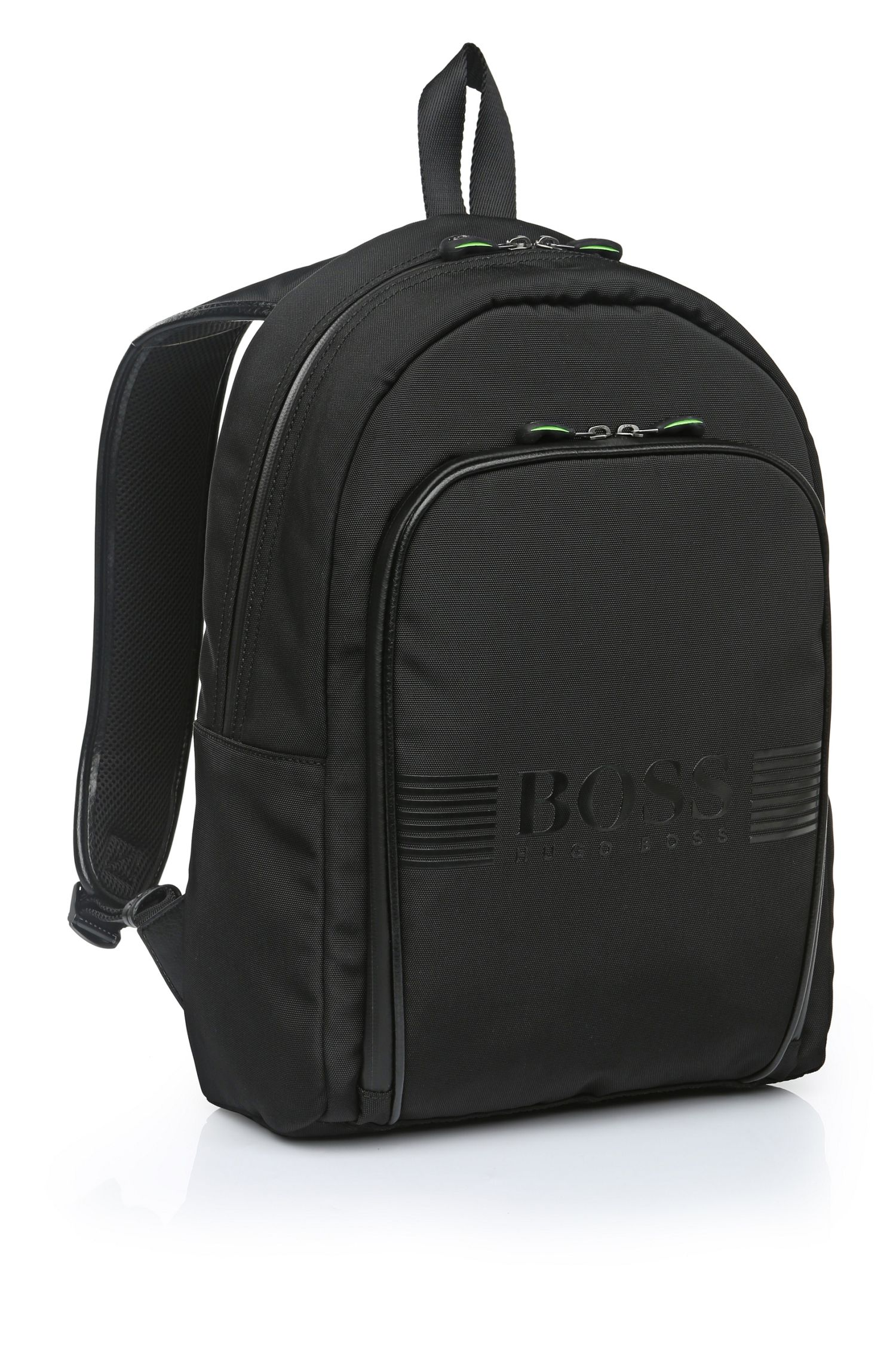 Backpack in fabric blend with leather-effect trim: 'Pixel_Backpack'