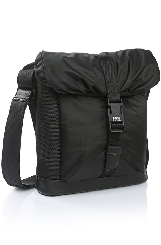 Reporter bag in fabric blend: 'Techno_NS flap', Black