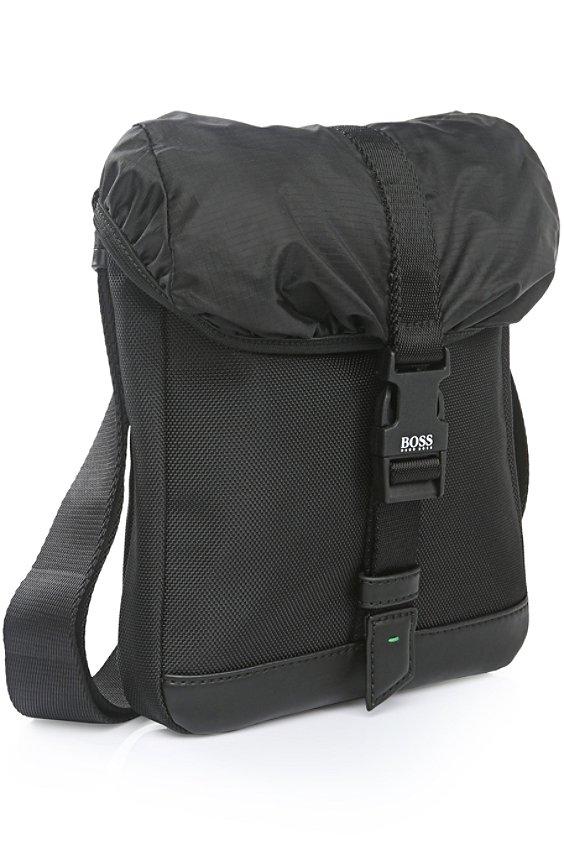 Mini sac en nylon avec garnitures: «Techno_Flap env», Noir