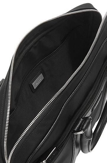 Unifarbene Businesstasche mit Lederbesätzen: 'Signature L_S doc', Schwarz