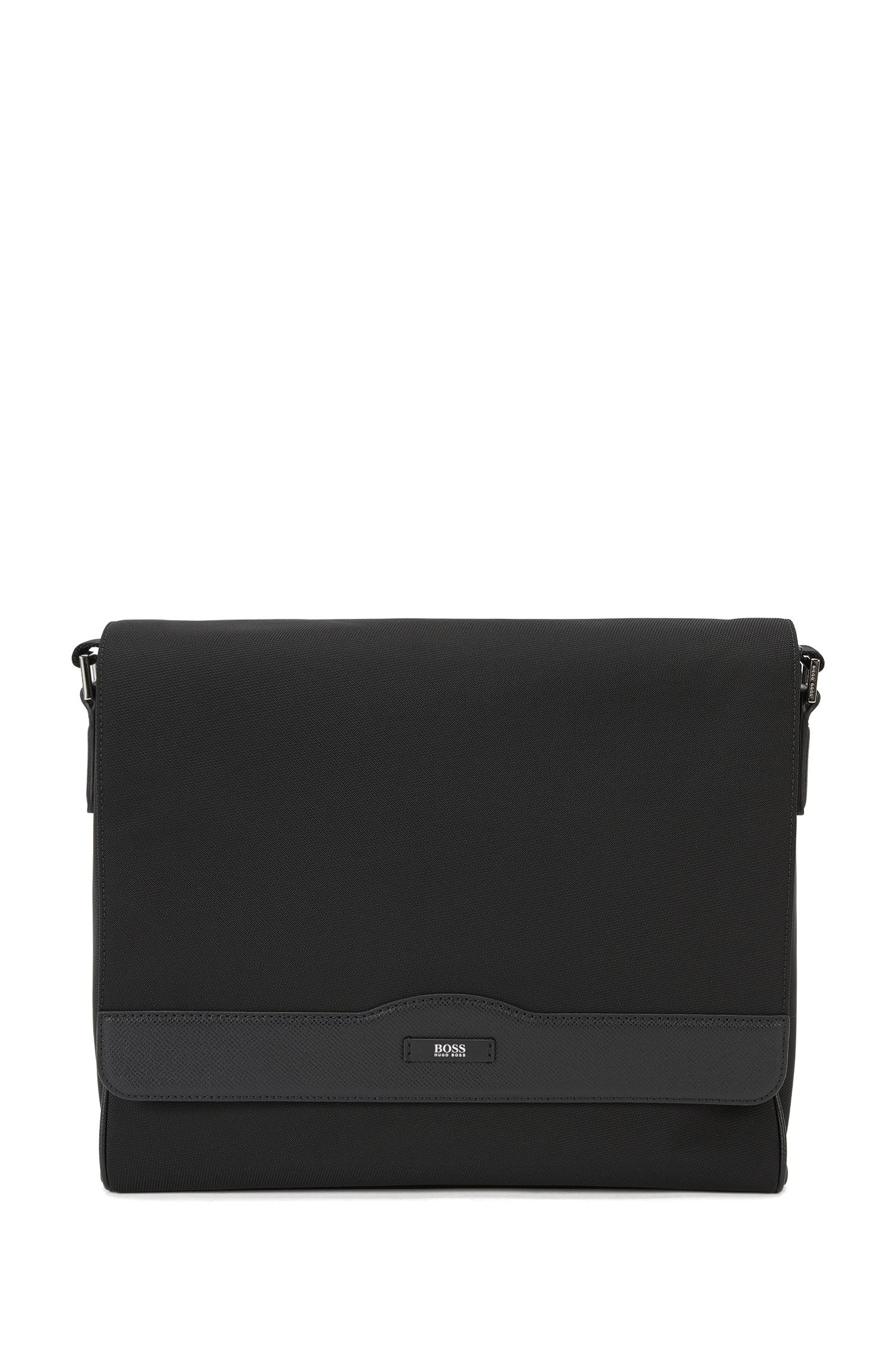 Messenger bag with leather trim: 'Signature L_Mes flap'