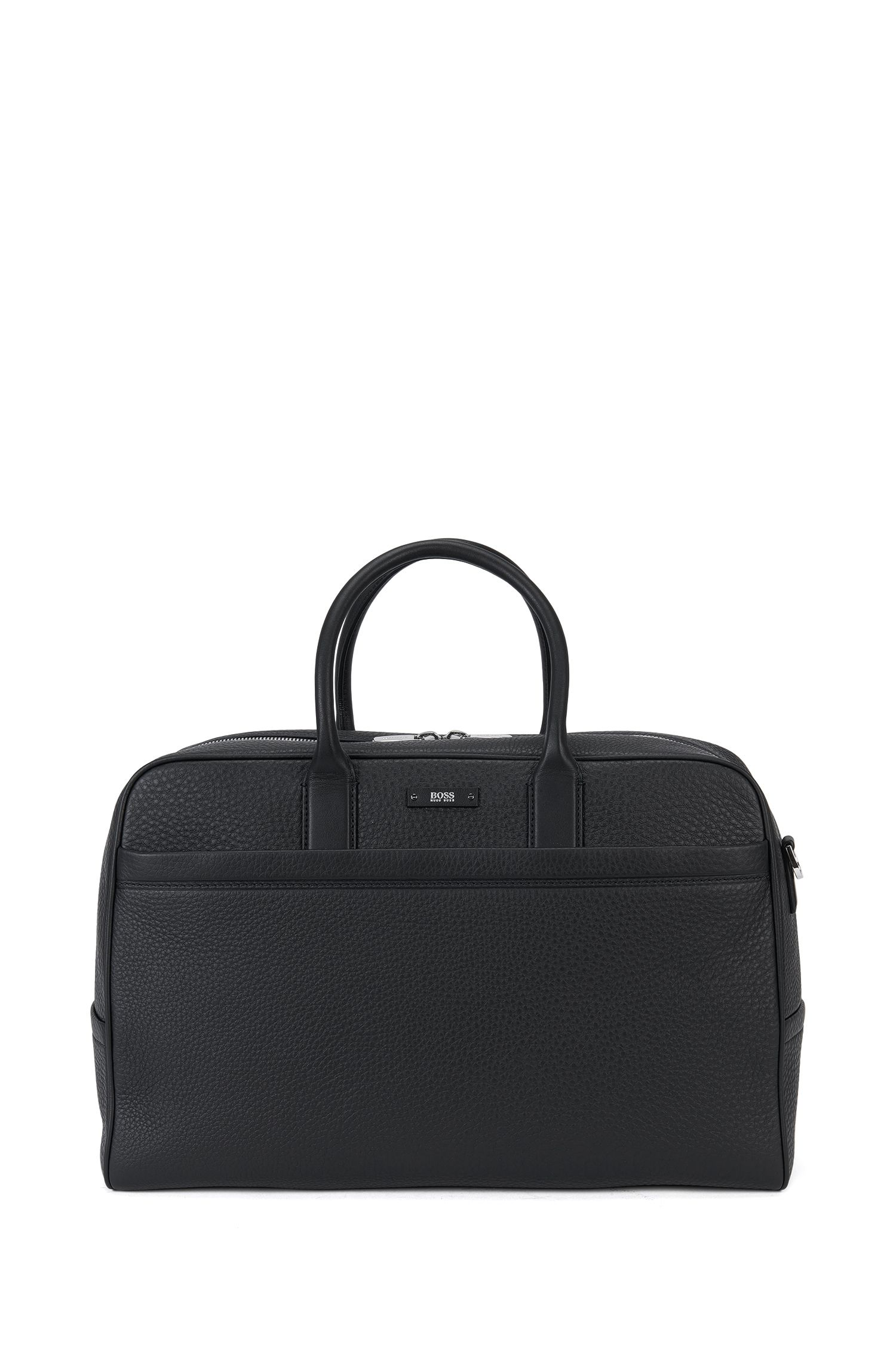 Weekender bag in grained leather: 'Traveller_Holdall'