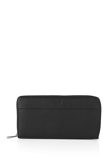 纹理质感皮革钱包:'Traveller_S zip trav',  001_黑色