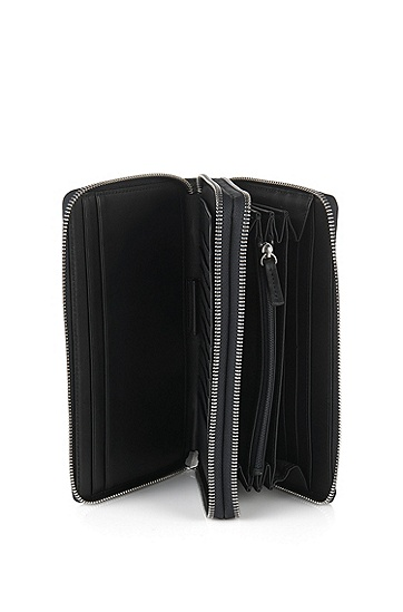 带2个主要存放空间的皮革手拿包:'Traveller_D zip trav',  001_黑色
