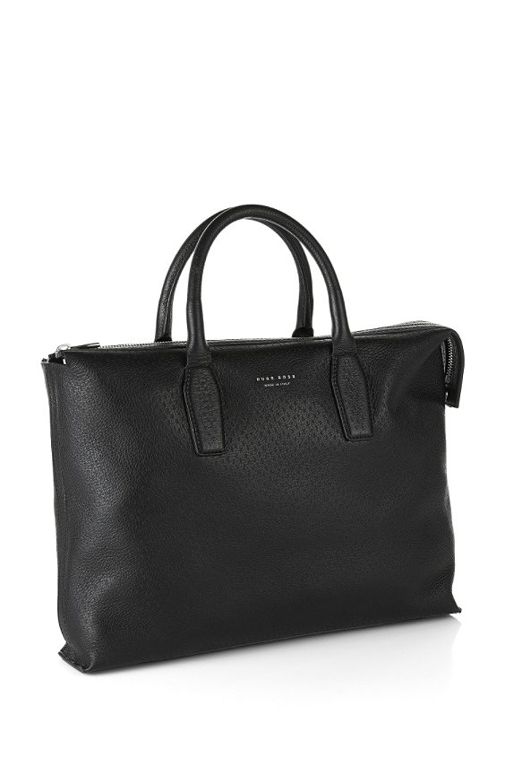 Bag in grained leather: 'S Pecary_S doc', Black