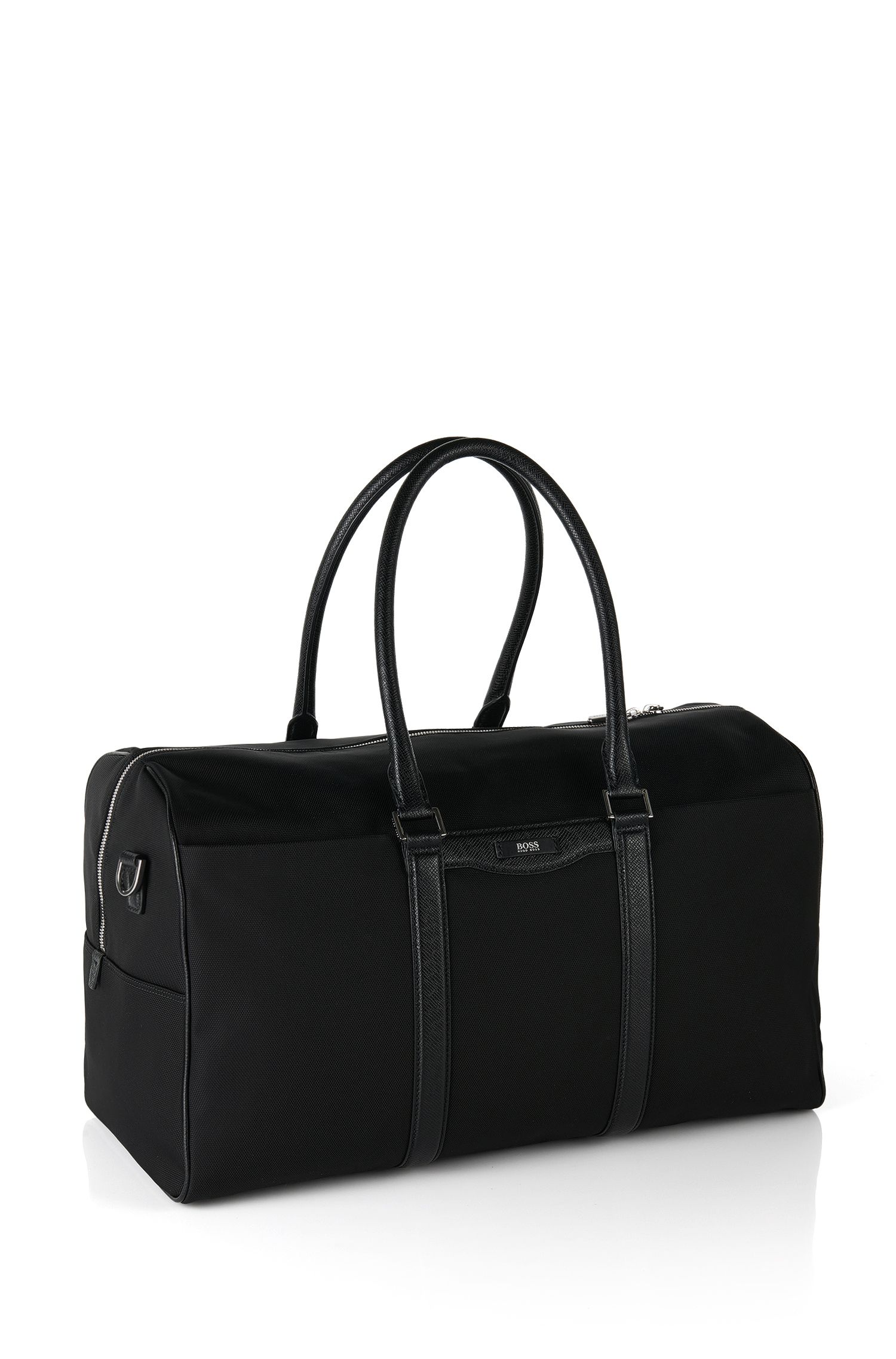 Weekender bag with leather detailing: 'Signature L_B Hold'