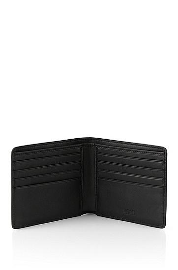 Set aus Geldbörse und Kartenetui aus Leder: 'GbB_8 cc card', Schwarz