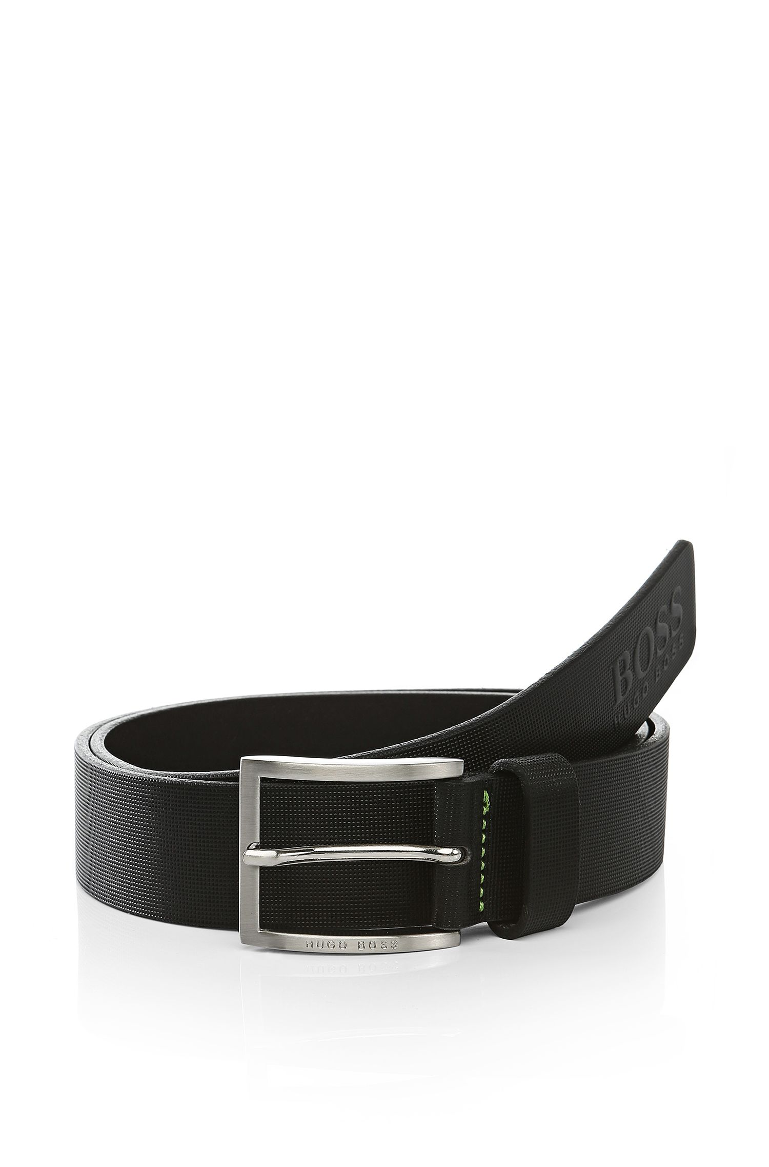 Textured leather belt: 'Tienzo'