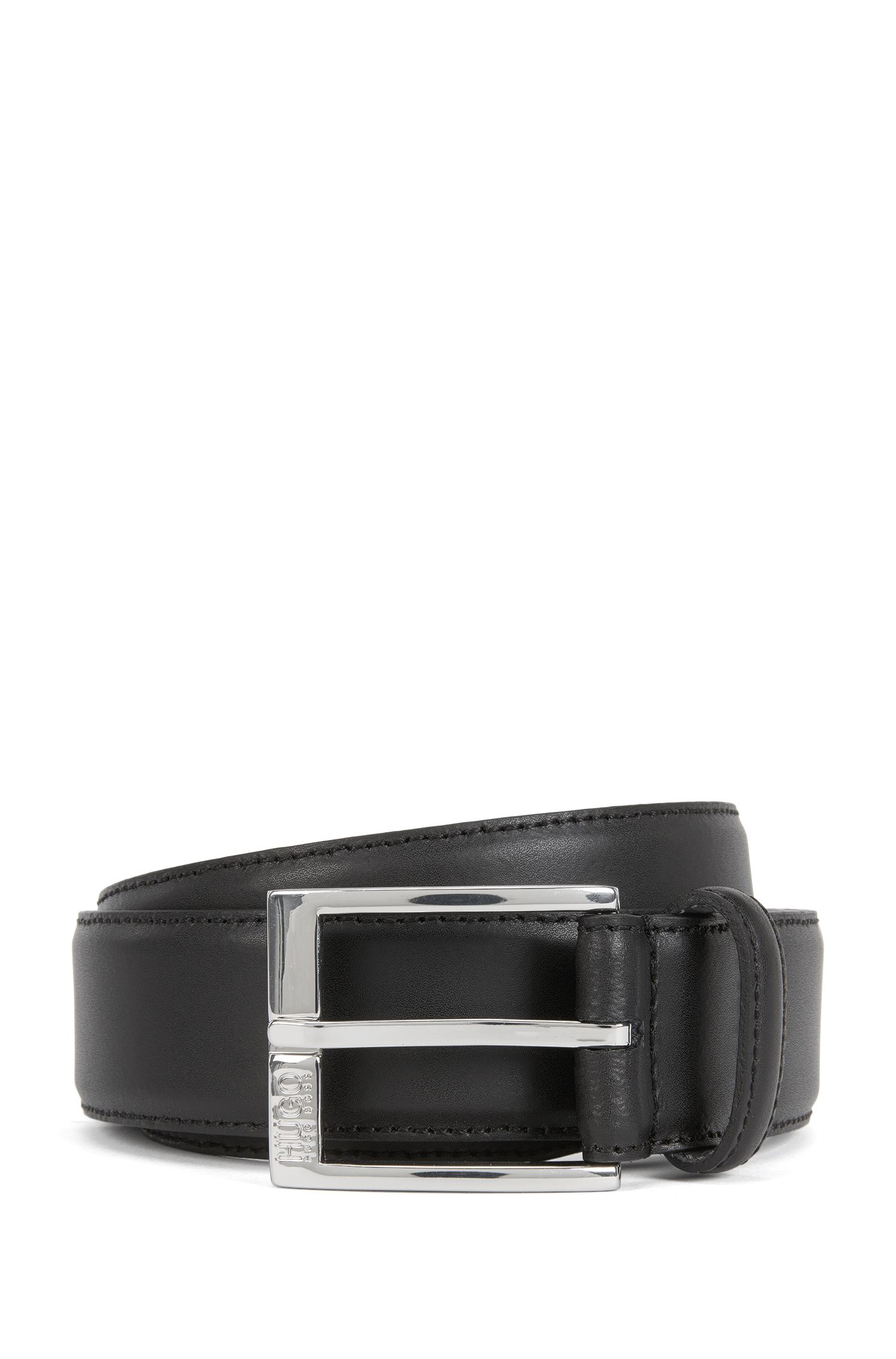 Leather belt with tonal stitching