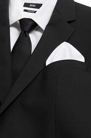 Unifarbenes Einstecktuch aus strukturierter Baumwolle: 'Pocket sq. cm 33x33', Weiß